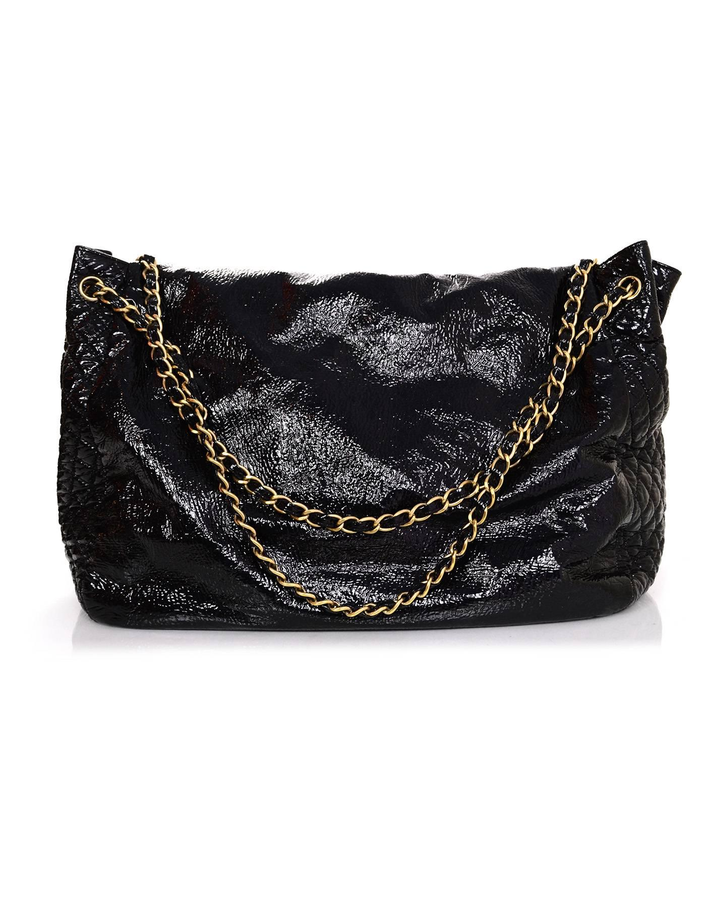 cbbe9965a1e1a1 Chanel Black Vinyl XL Rock and Chain Accordion Bag For Sale at 1stdibs