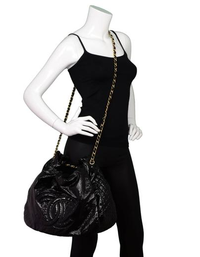 89df1b6b76a70a Chanel Black Vinyl XL Rock and Chain Accordion Bag For Sale at 1stdibs