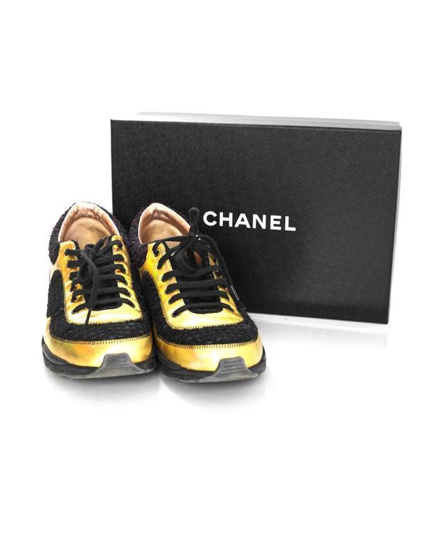 Chanel Fall '14 Runway Black Tweed, Brown Suede & Gold Trainer Sneakers Sz 40 For Sale 3
