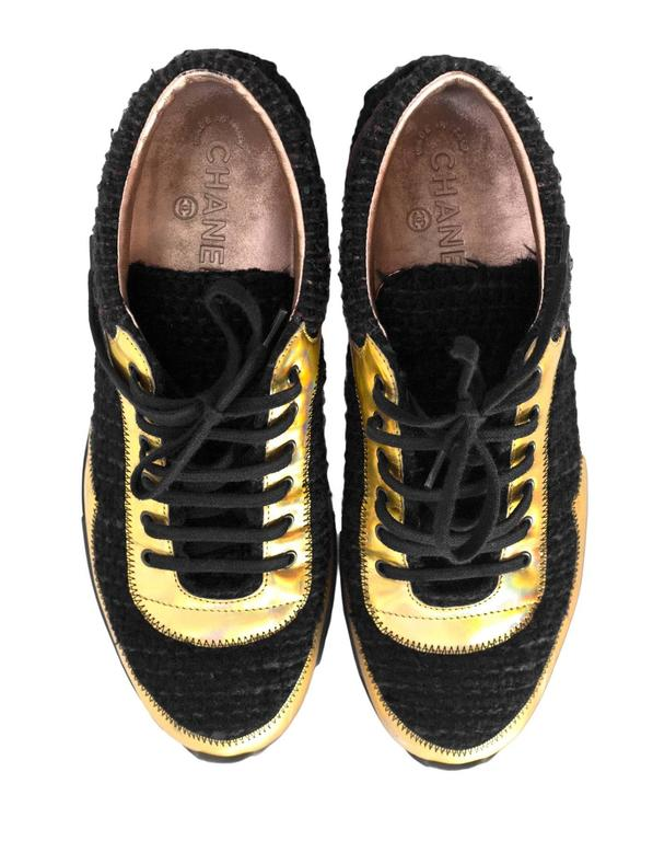Women's Chanel Fall '14 Runway Black Tweed, Brown Suede & Gold Trainer Sneakers Sz 40 For Sale