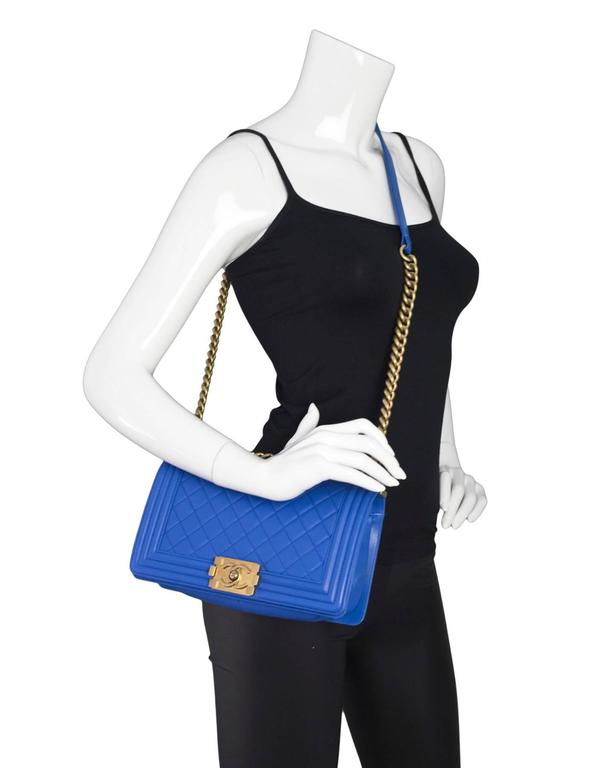 Chanel Cobalt Blue Quilted Lambskin Leather Medium Boy Bag GHW with Box 2