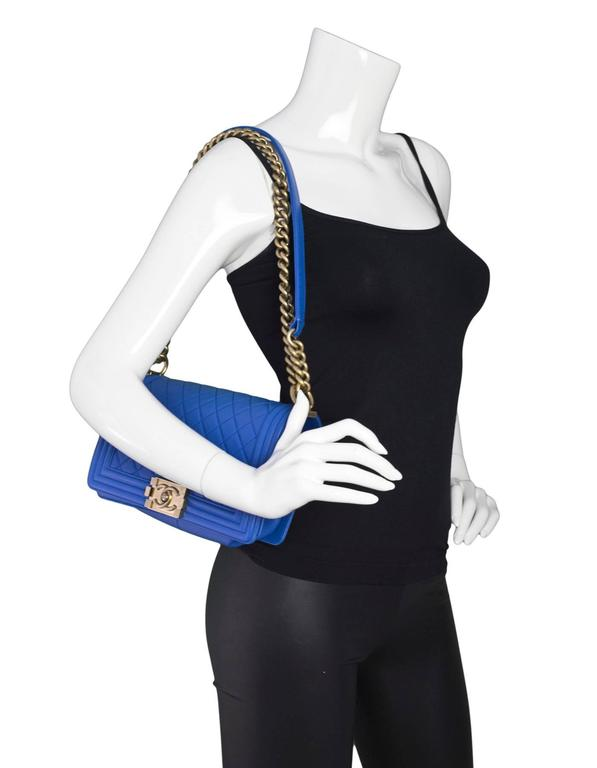 Chanel Cobalt Blue Quilted Lambskin Leather Medium Boy Bag GHW with Box 3