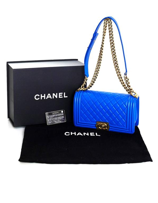 Chanel Cobalt Blue Quilted Lambskin Leather Medium Boy Bag GHW with Box 10