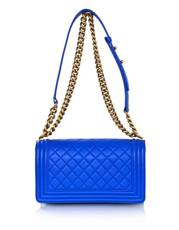 Chanel Cobalt Blue Quilted Lambskin Leather Medium Boy Bag GHW with Box 4