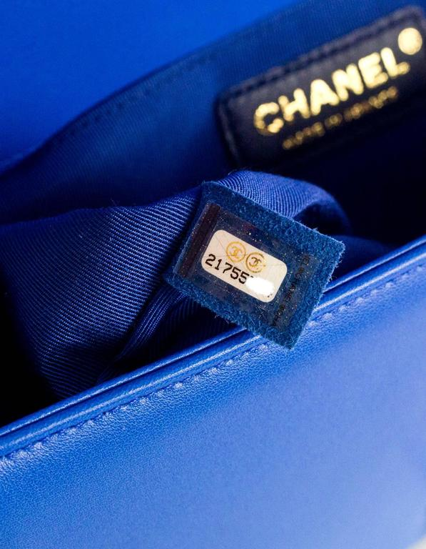 Chanel Cobalt Blue Quilted Lambskin Leather Medium Boy Bag GHW with Box 9