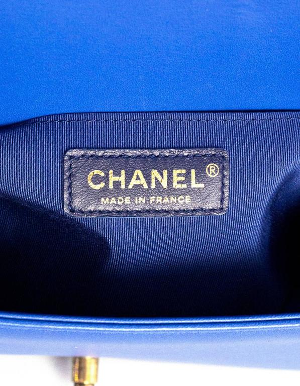 Chanel Cobalt Blue Quilted Lambskin Leather Medium Boy Bag GHW with Box 8