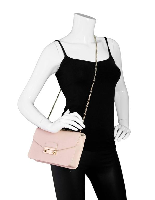 3c8d3acdc725a1 White Furla Pink Saffiano Julia Pochette Shoulder/Crossbody Bag For Sale