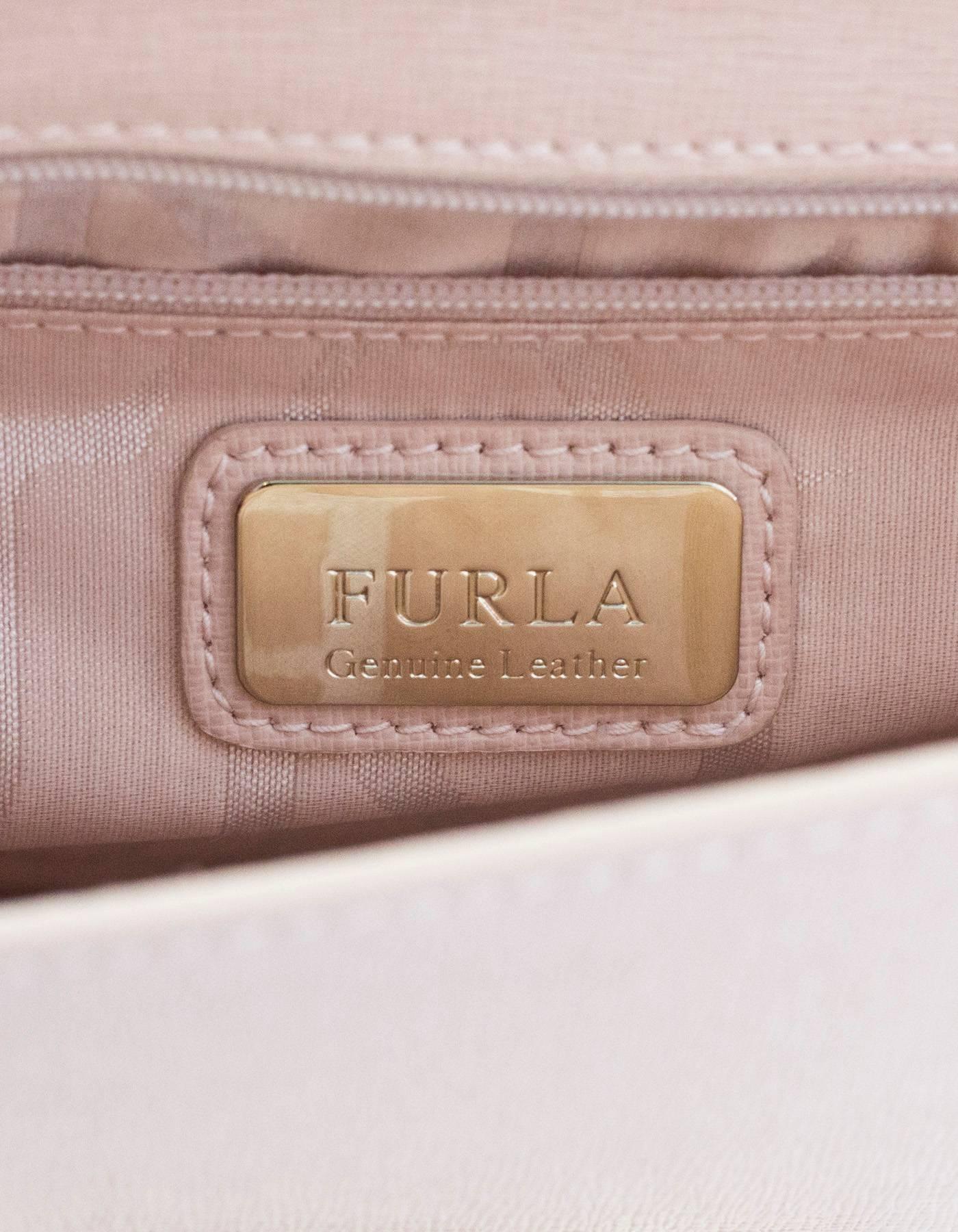 Furla Pink Saffiano Julia Pochette Shoulder Crossbody Bag For Sale Metropolis Bronze Authentic At 1stdibs