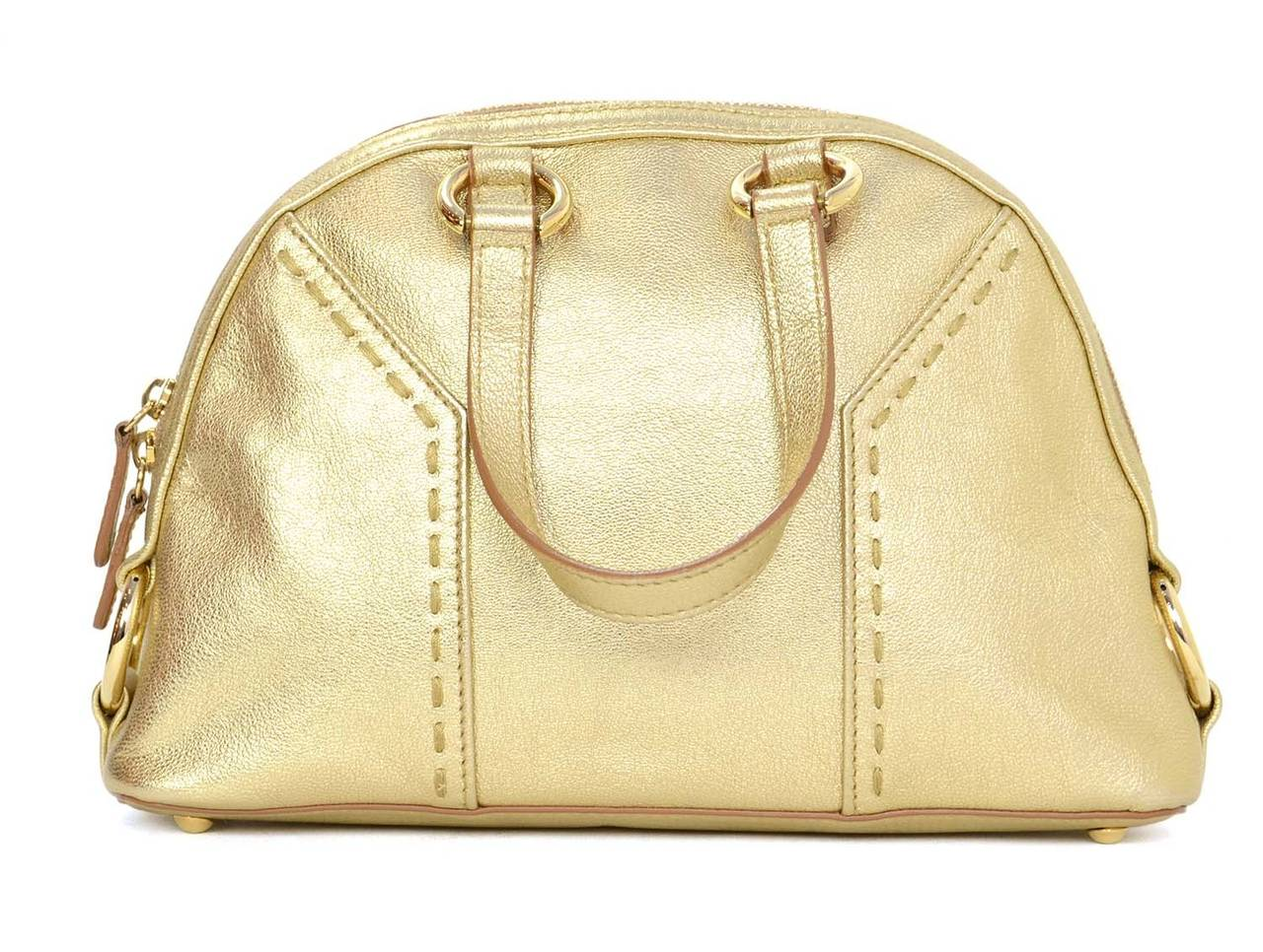 Yves Saint Laurent Ysl 2008 Gold Leather Micro Muse Bag At