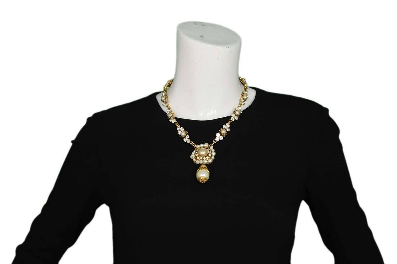 CHANEL Vintage Pearl and Strass Crystal Necklace w/Large Pearl & Drop Pendant 7