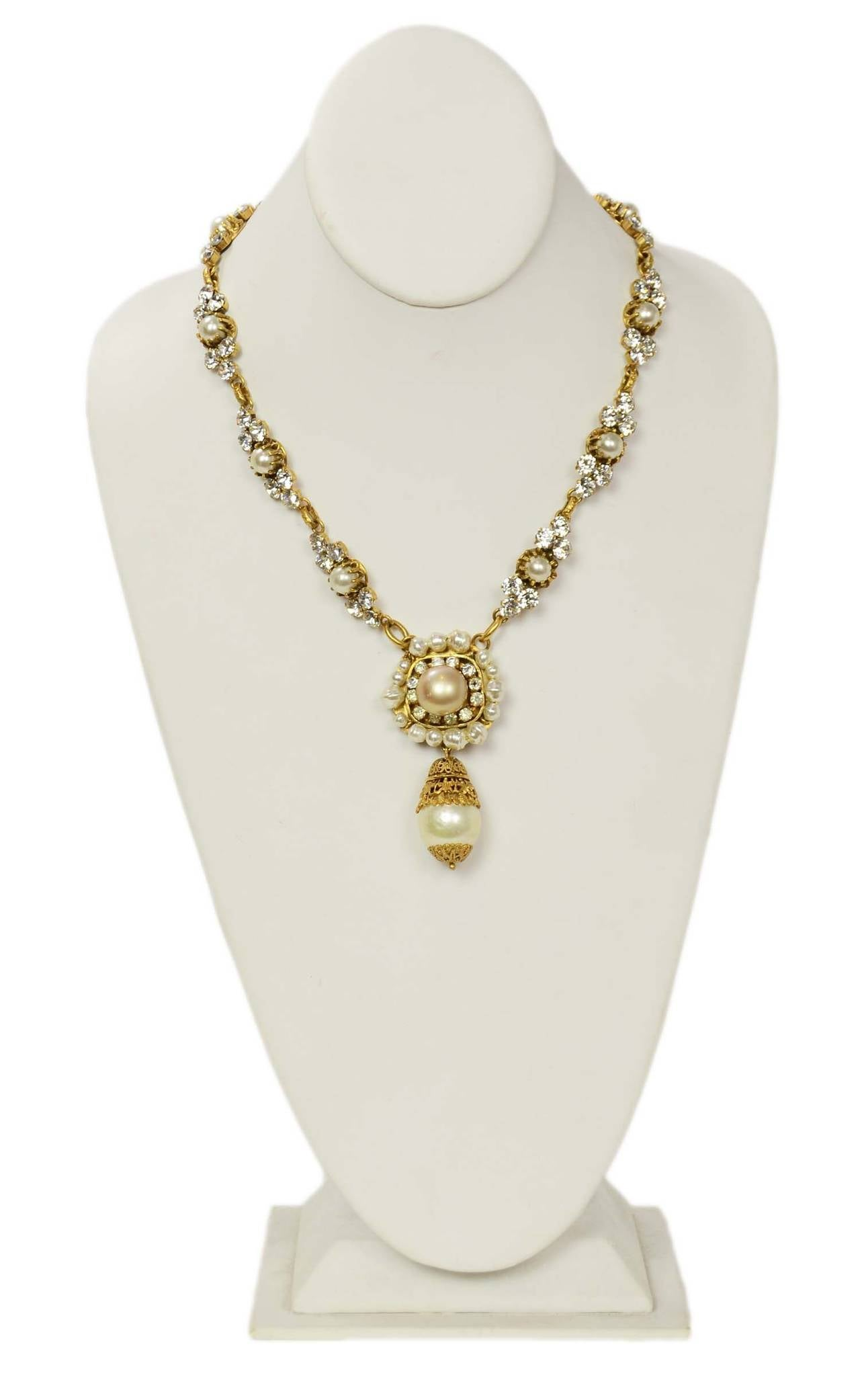 CHANEL Vintage Pearl and Strass Crystal Necklace w/Large Pearl & Drop Pendant 2