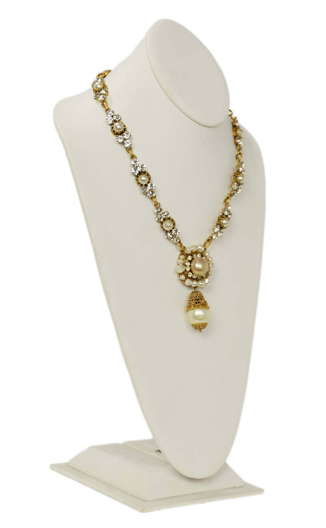 CHANEL Vintage Pearl and Strass Crystal Necklace w/Large Pearl & Drop Pendant 3