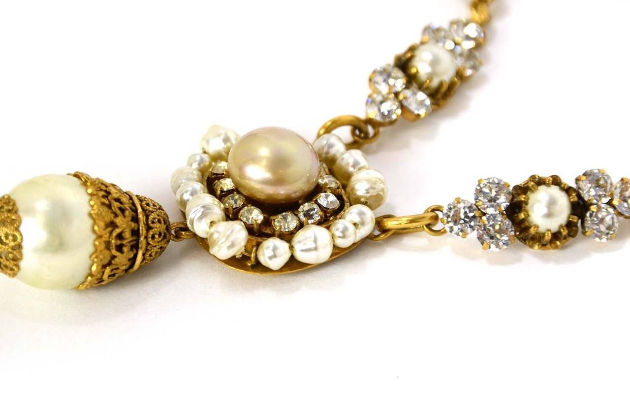 CHANEL Vintage Pearl and Strass Crystal Necklace w/Large Pearl & Drop Pendant 4