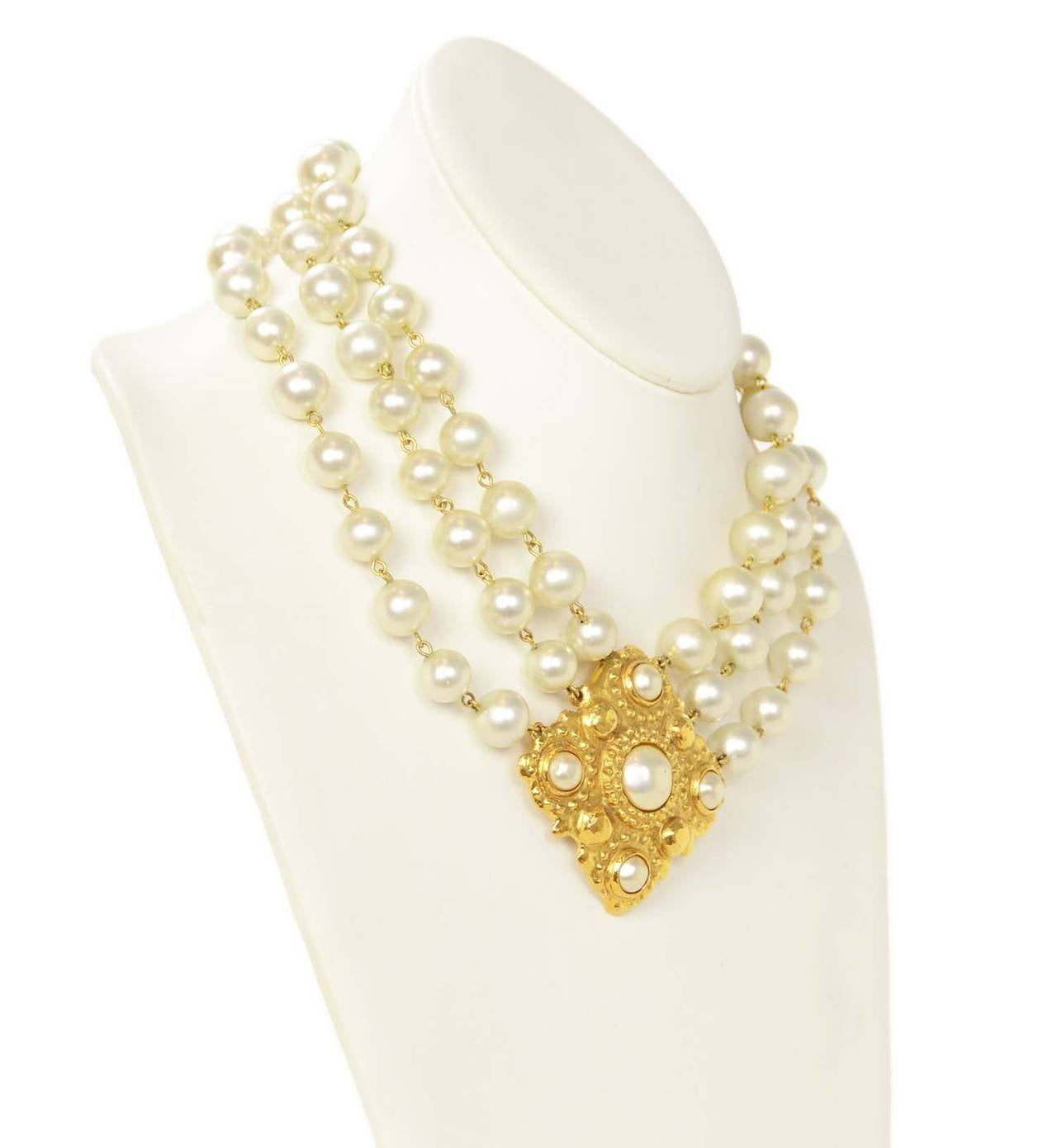 CHANEL Vintage 1986 Three Strand Pearl Choker w/Gold & Pearl Pendant 2