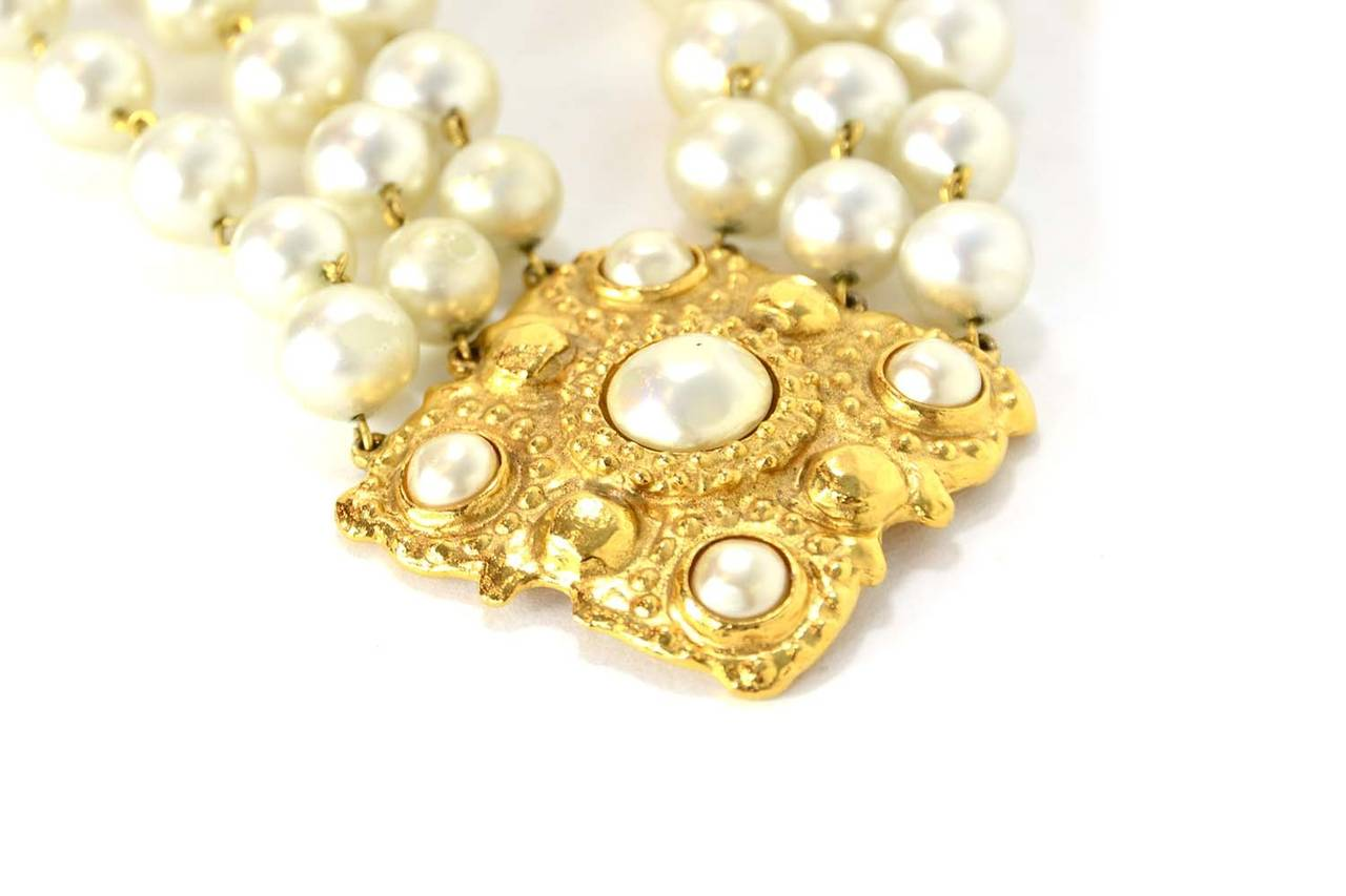 CHANEL Vintage 1986 Three Strand Pearl Choker w/Gold & Pearl Pendant 4