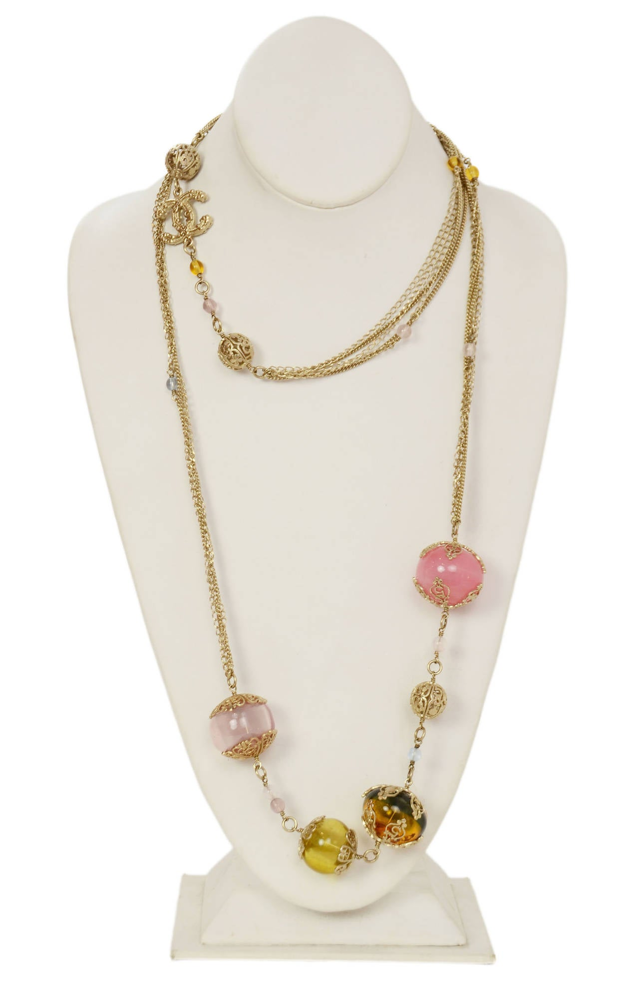 Chanel 2006 Silvertone Long Multi-Strand Necklace w/Pastel Glass Beads 2
