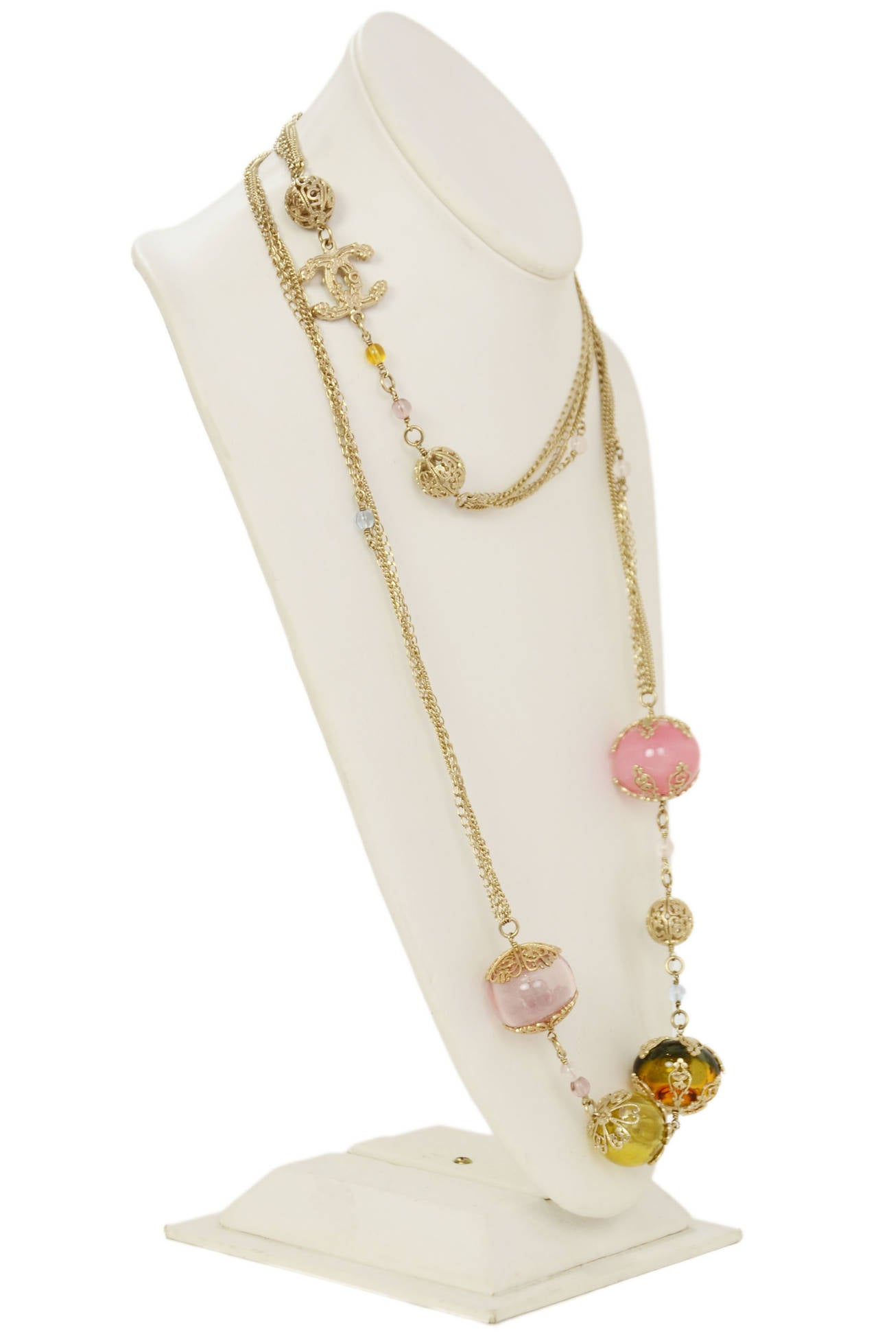 Chanel 2006 Silvertone Long Multi-Strand Necklace w/Pastel Glass Beads 3