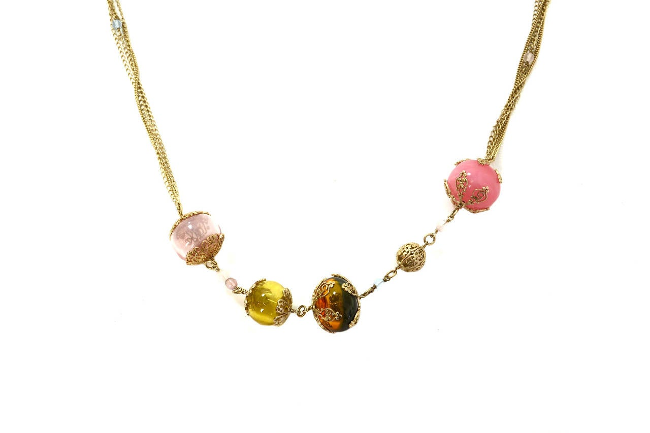 Chanel 2006 Silvertone Long Multi-Strand Necklace w/Pastel Glass Beads 5