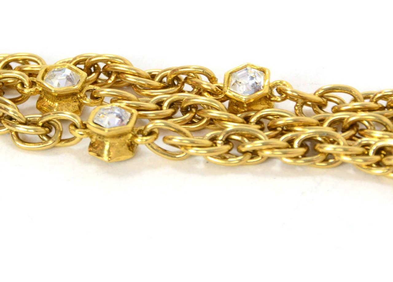 CHANEL Vintage 70's-80's Gold Chain Multi-Strand Necklace w/CC Pendant 3