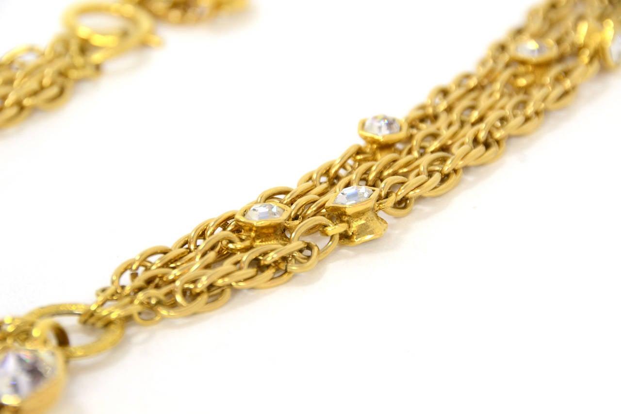 CHANEL Vintage 70's-80's Gold Chain Multi-Strand Necklace w/CC Pendant 4