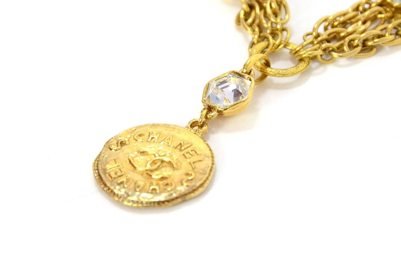 CHANEL Vintage 70's-80's Gold Chain Multi-Strand Necklace w/CC Pendant 5