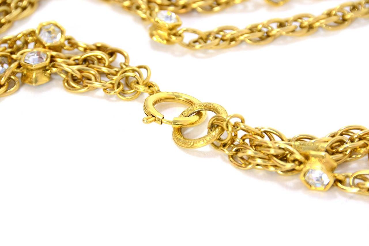 CHANEL Vintage 70's-80's Gold Chain Multi-Strand Necklace w/CC Pendant 6