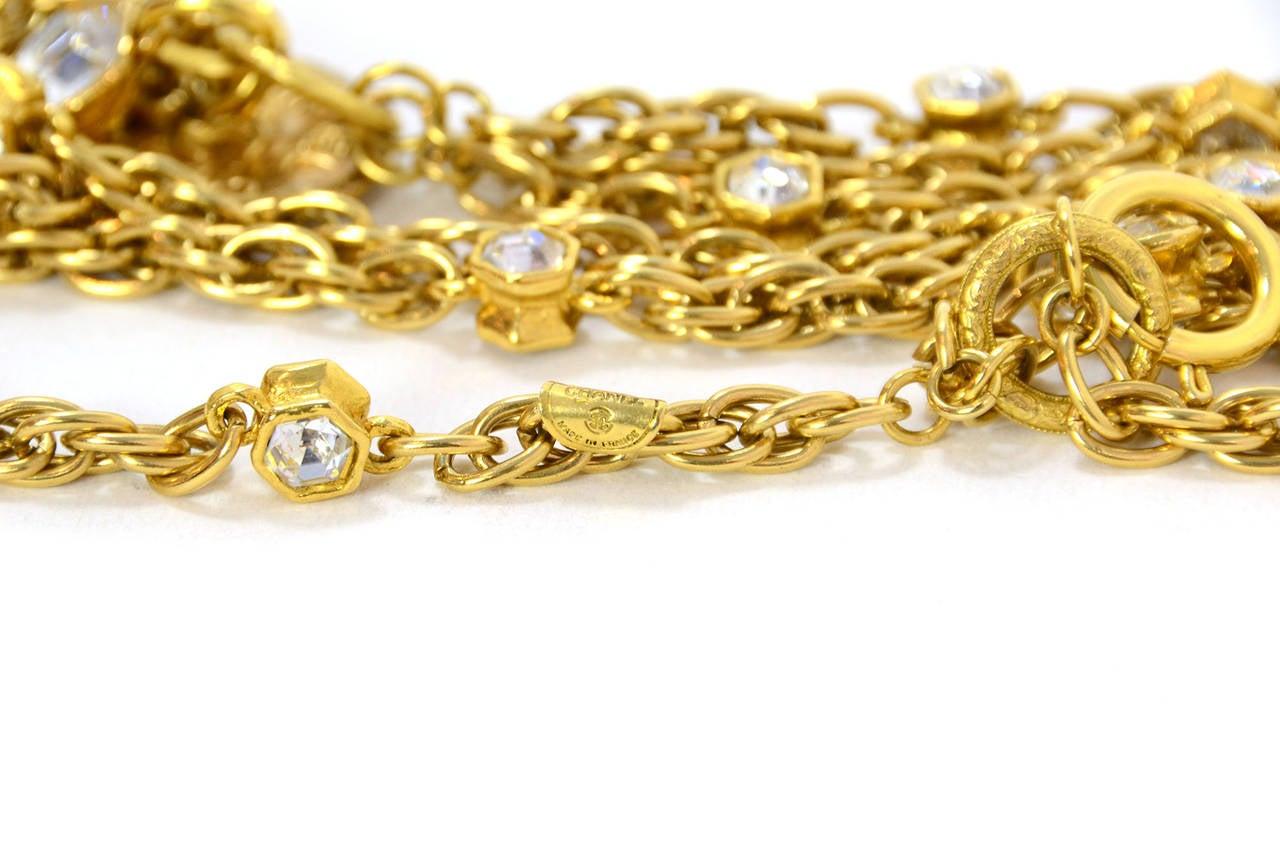 CHANEL Vintage 70's-80's Gold Chain Multi-Strand Necklace w/CC Pendant 7