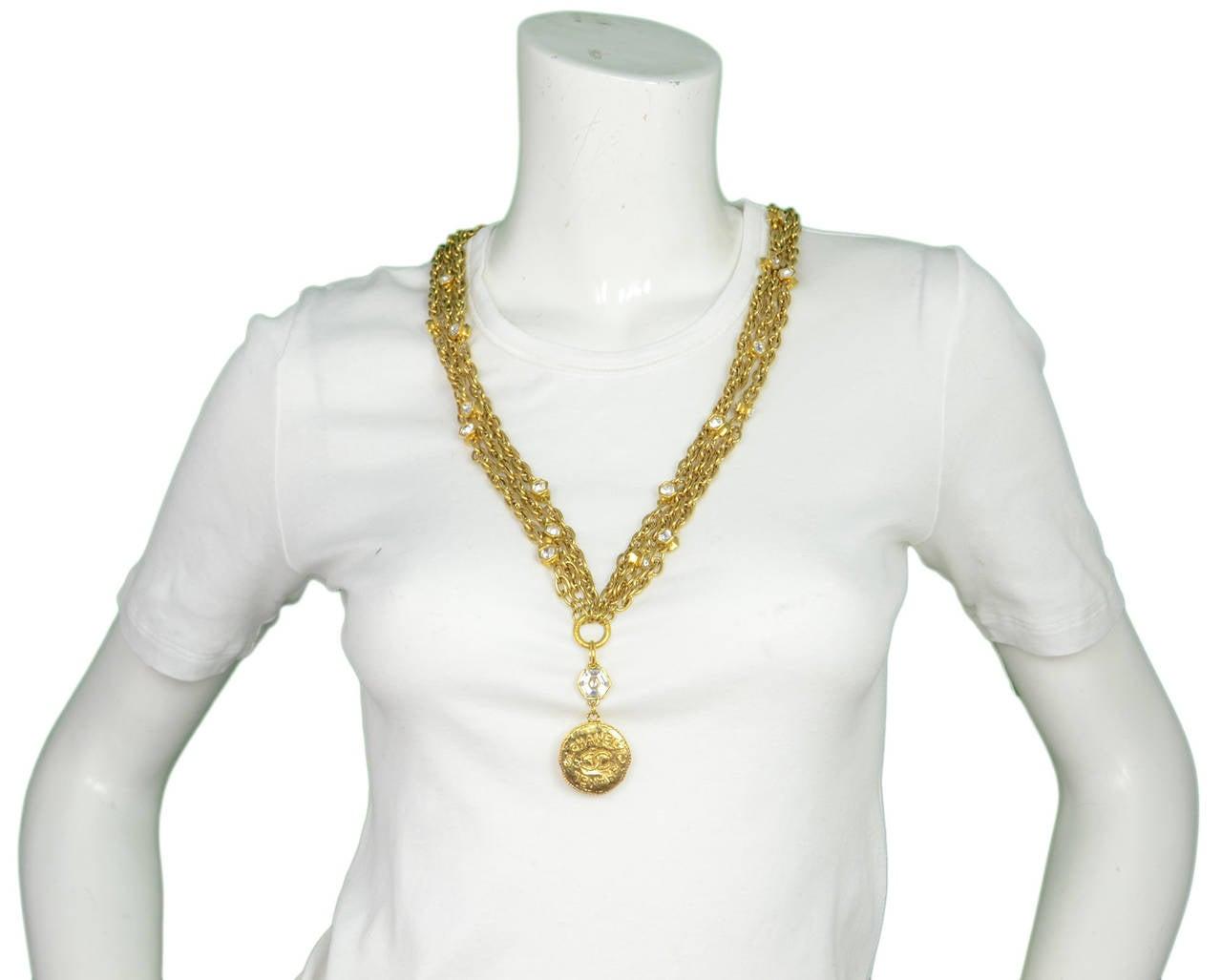 CHANEL Vintage 70's-80's Gold Chain Multi-Strand Necklace w/CC Pendant 8