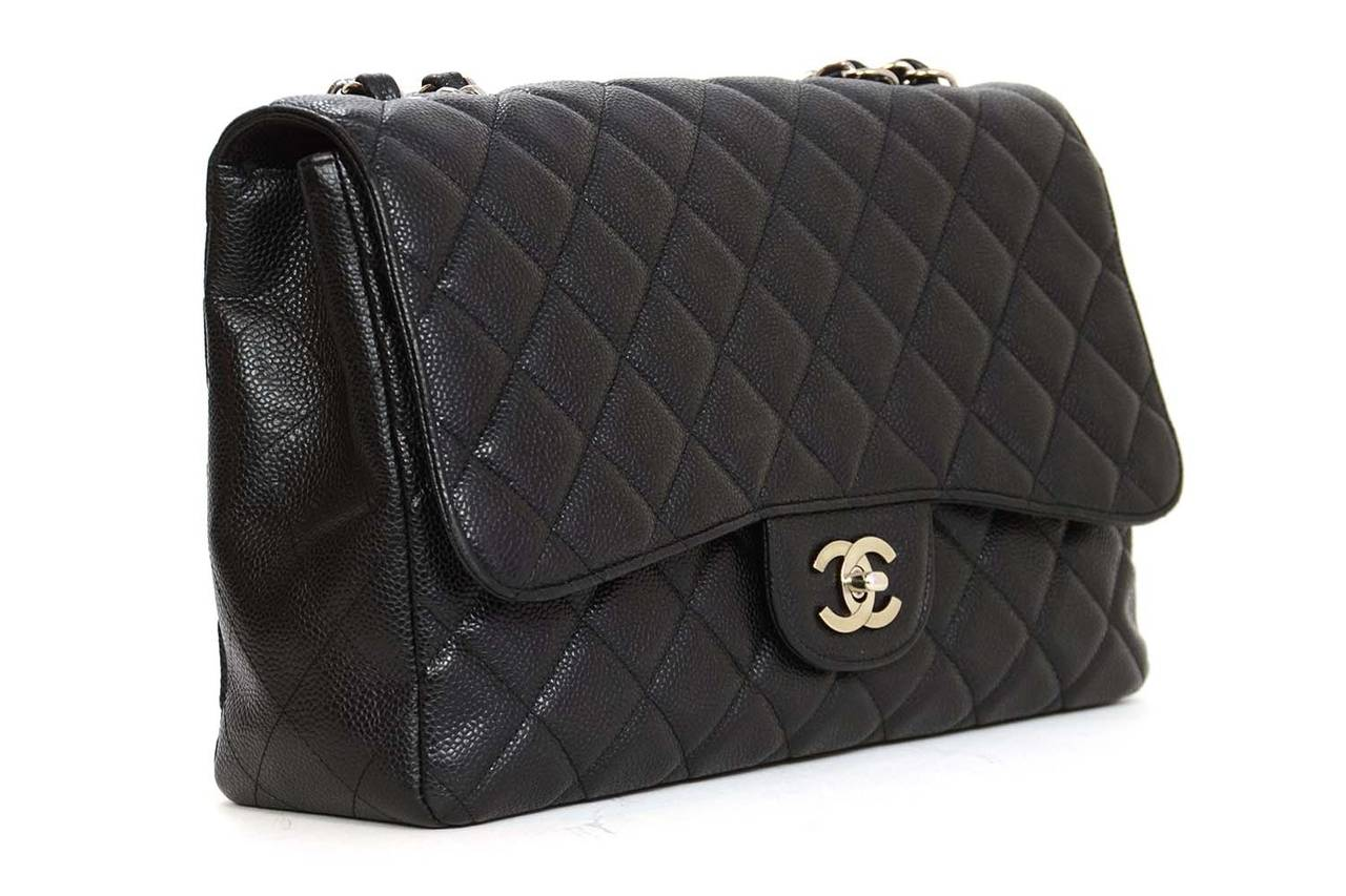 0b589b5c05d3 CHANEL 2009 Black Quilted Caviar Jumbo Classic Flap Bag SHW rt $5,500 In  Excellent Condition For