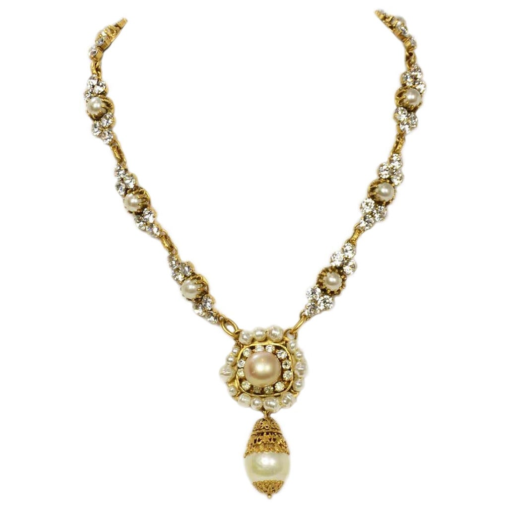 CHANEL Vintage Pearl and Strass Crystal Necklace w/Large Pearl & Drop Pendant 1