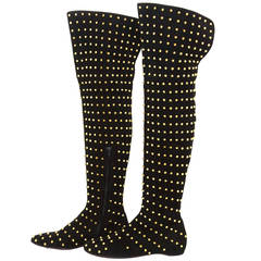 CHRISTIAN LOUBOUTIN Black Suede Knee High Studded Boots sz 39