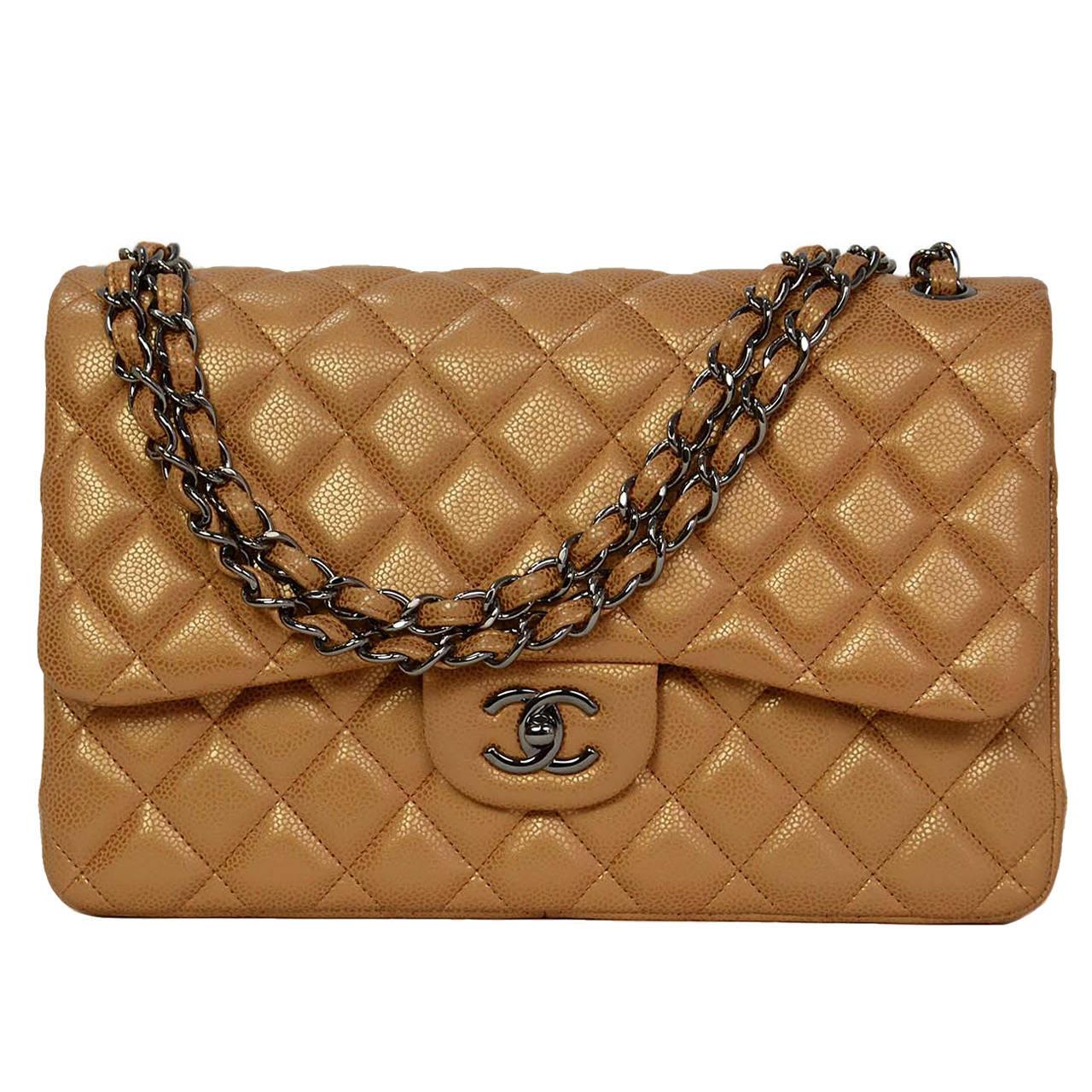 b54b58da080433 Chanel Metallic Gold Caviar Leather Double Flap Large Jumbo Classic Bag For  Sale