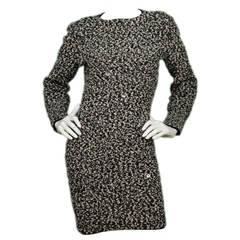 CHANEL Black and White Wool Long Sleeve Dress sz. 42