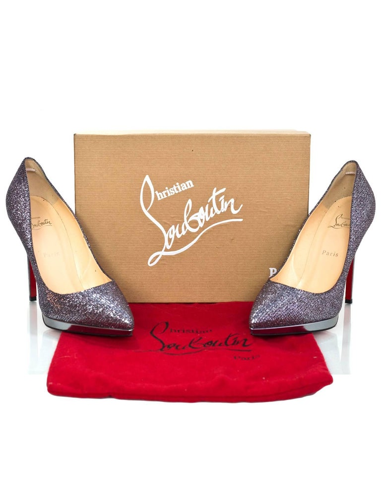 Christian Louboutin Silver Glitter Pigalle Plato 120mm Point Toe Pumps sz 4 1