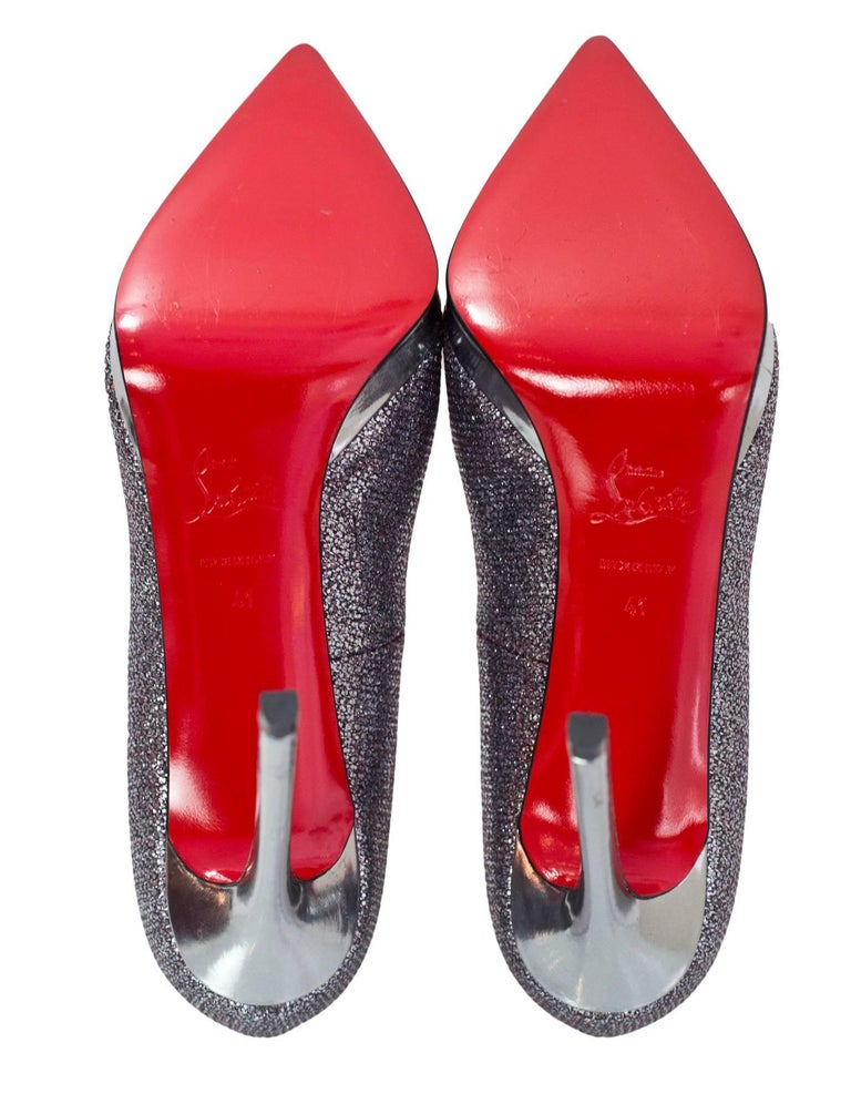 Christian Louboutin Silver Glitter Pigalle Plato 120mm Point Toe Pumps sz 4 2