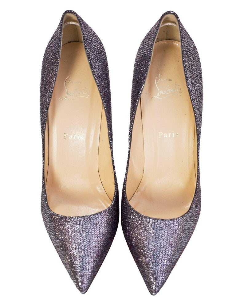 Christian Louboutin Silver Glitter Pigalle Plato 120mm Point Toe Pumps sz 4 In Excellent Condition In New York, NY