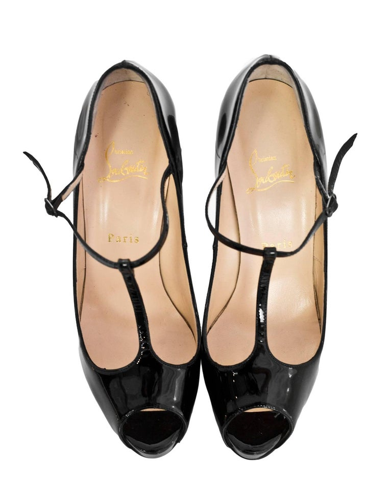 Christian Louboutin NEW Black Patent Burlina 120mm T-Strap Pumps sz 40.5 In Excellent Condition For Sale In New York, NY