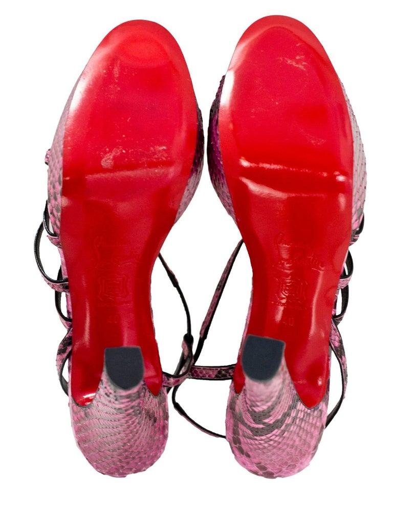Christian Louboutin Pink Python Miss Dina 120m Platform Sandals sz 40 5