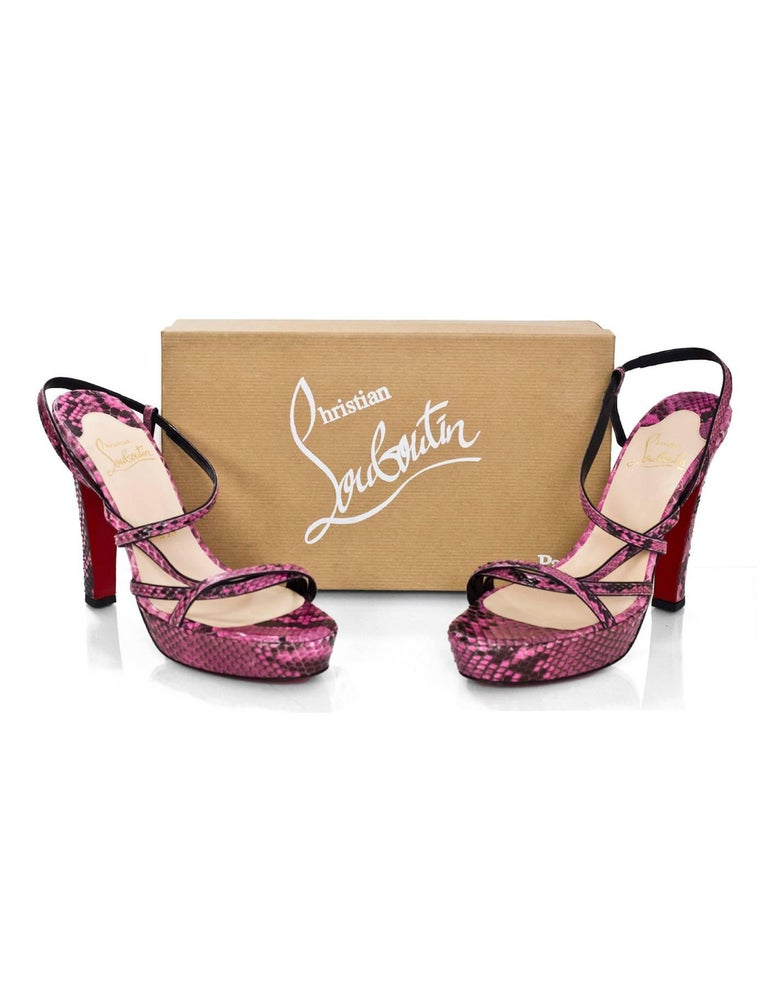 Christian Louboutin Pink Python Miss Dina 120m Platform Sandals sz 40 For Sale 2