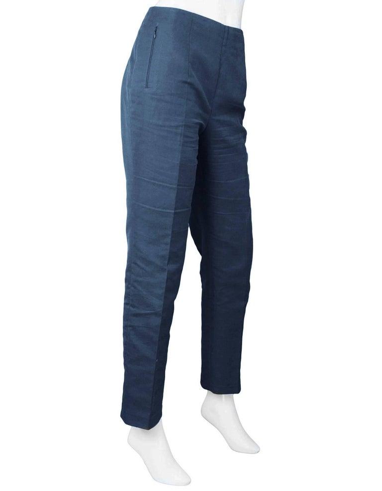 Black Akris Navy Cropped Pants Sz 10 For Sale