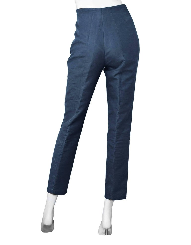 Akris Navy Cropped Pants Sz 10 In Excellent Condition For Sale In New York, NY