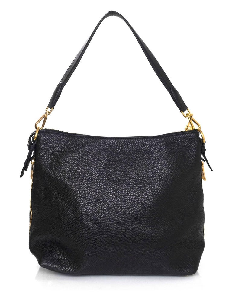 8e478acb4772 Prada Black Pebbled Leather Shoulder Bag | Stanford Center for ...