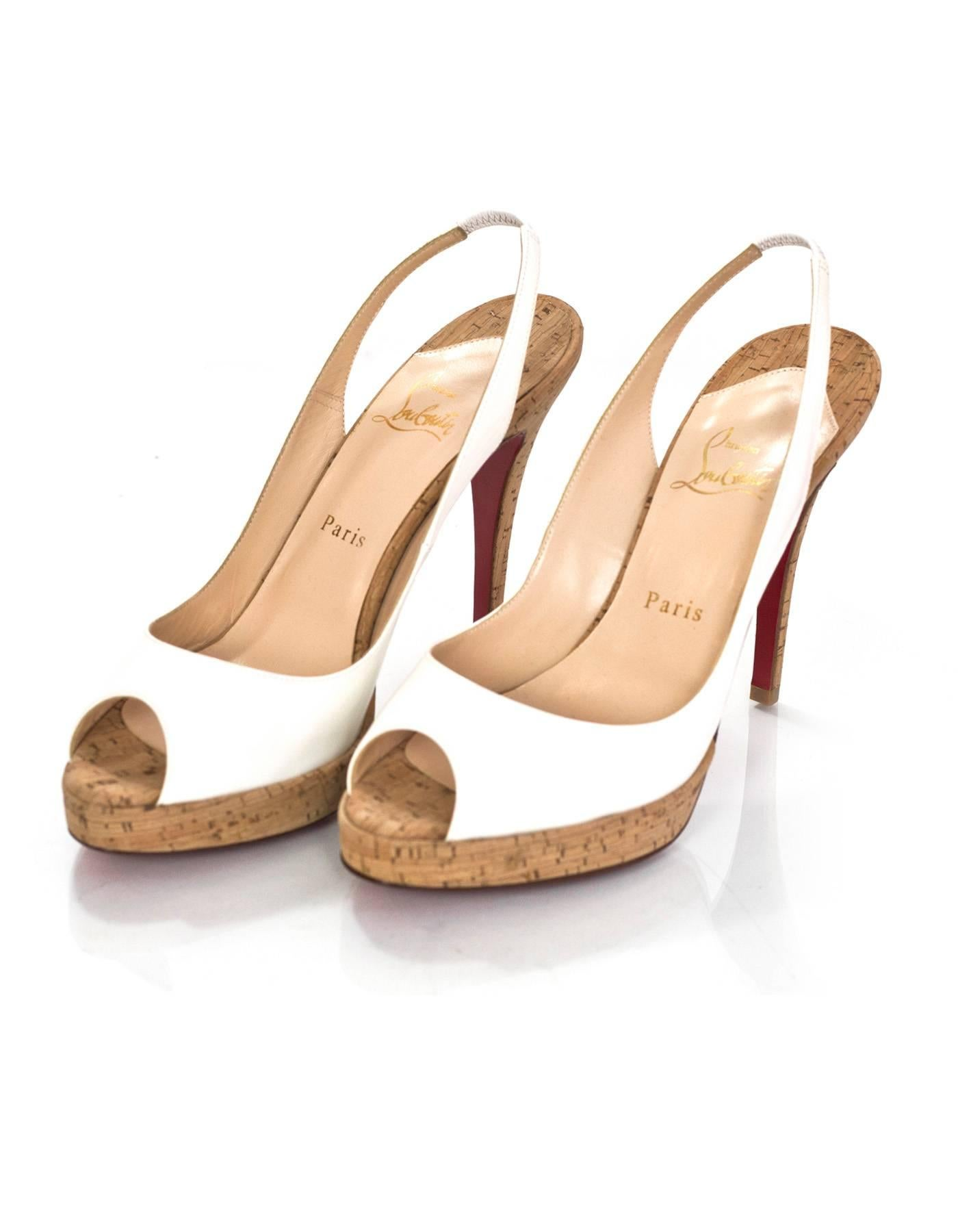 ee0715ef043 ... cheap christian louboutin white patent cork peep toe pumps sz 38.5 made  in 58a68 3f605