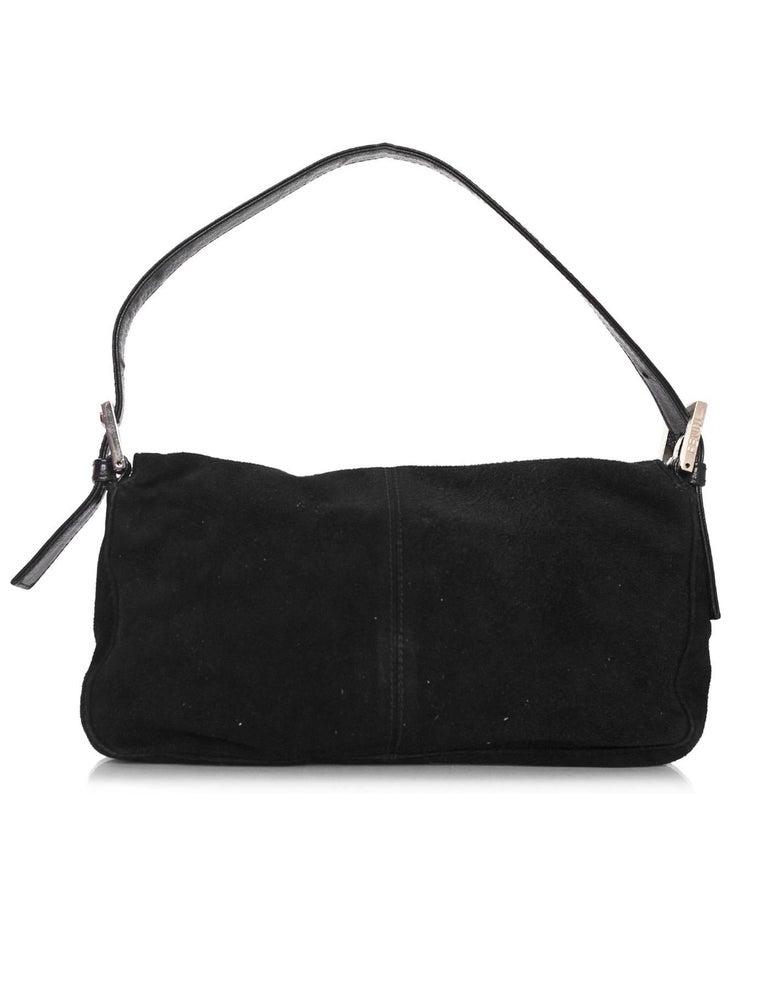 Fendi Black Suede Baguette Shoulder Bag In Excellent Condition In New York, NY