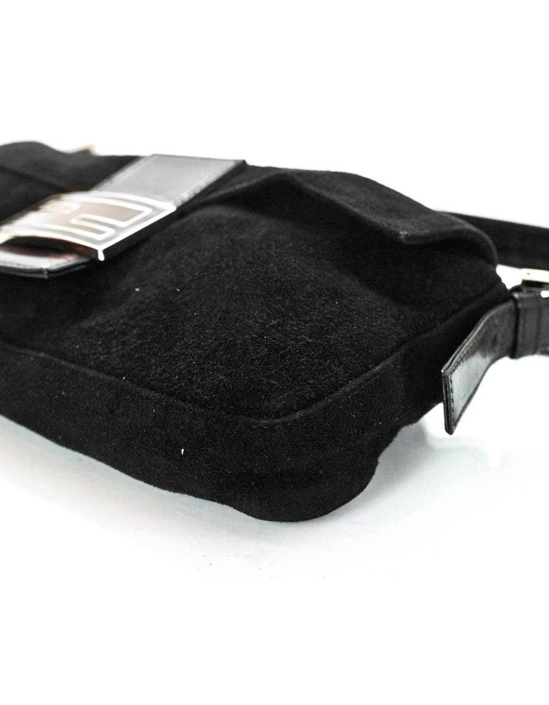 Fendi Black Suede Baguette Shoulder Bag 1