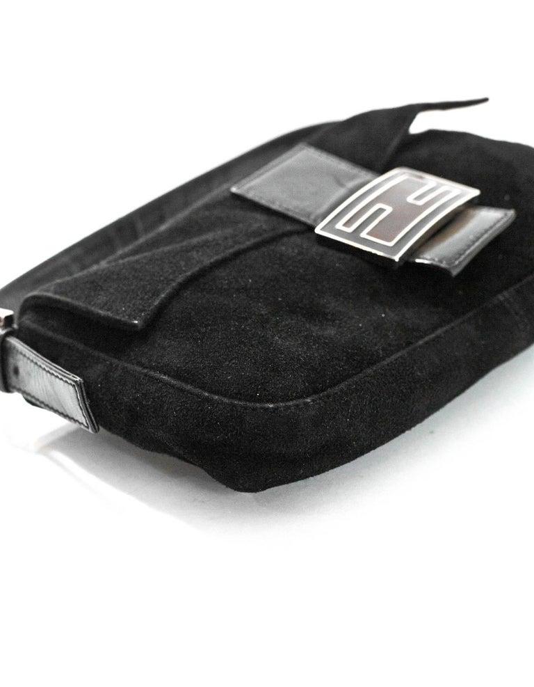Women's Fendi Black Suede Baguette Shoulder Bag