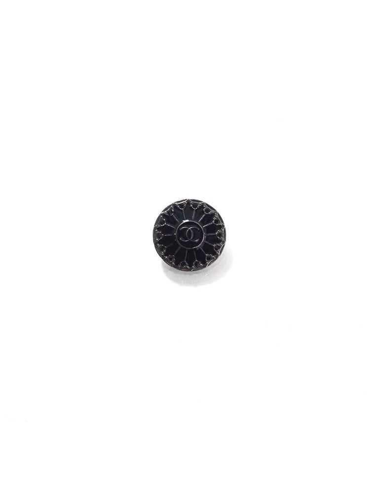 Chanel Black Enamel & Crystal Buttons Features six buttons - three 19mm, three 16mm  Color: Black Hardware: Gunmetal Materials: Metal, enamel, crystal Overall Condition: Very good good pre-owned condition, light surface marks  Measurements: