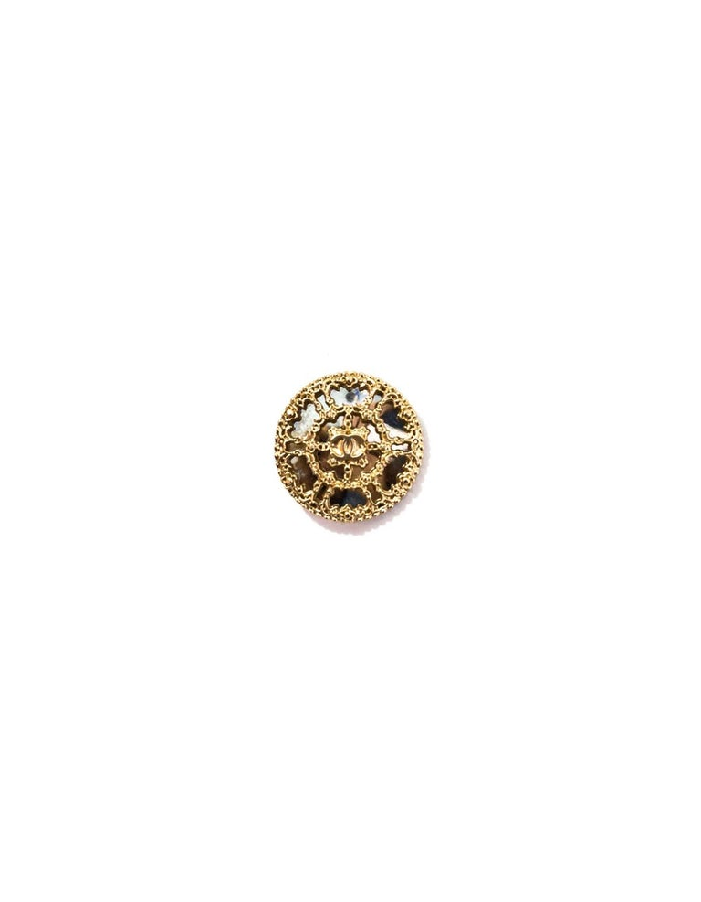 Chanel Goldtone Filigree Mirror Buttons Features four 22mm CC buttons  Color: Gold, silver Hardware: Goldtone Materials: Metal, mirror Overall Condition: Very good good pre-owned condition, light surface marks  Measurements:  Diameter: 22mm