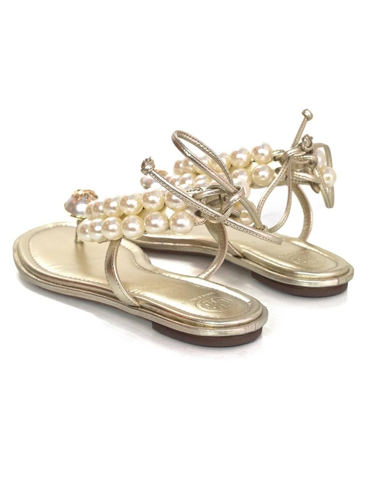 5d96e3744a0f Tory Burch Melody Pearl Sandals Sz 9.5 rt.  325 For Sale at 1stdibs