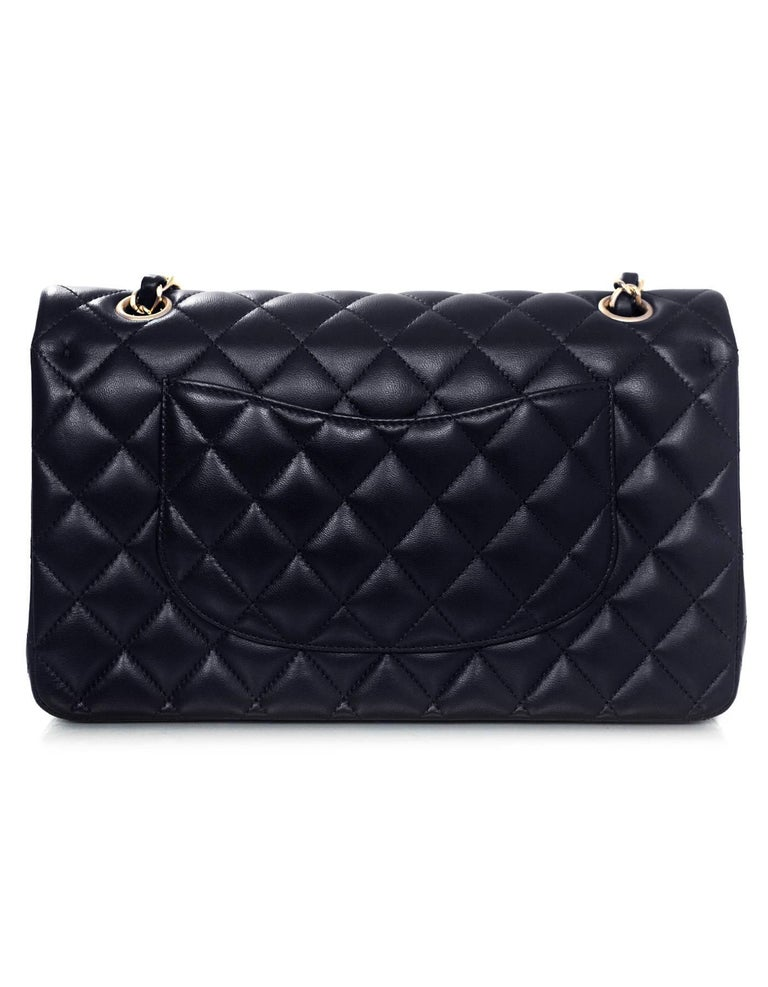 "Chanel NEW Navy Quilted Lambskin Leather Medium Classic 10"" Double Flap Bag 3"